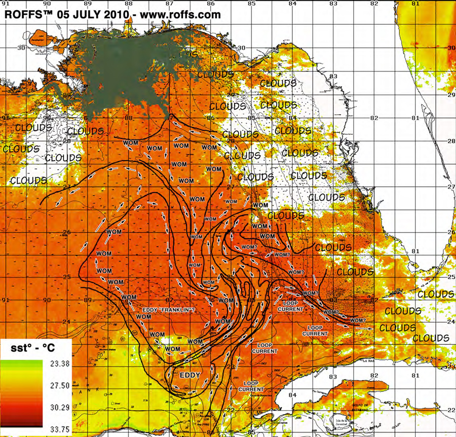 "Current composite image of BP Deepwater Horizon oil spill, Gulf of Mexico current patterns. U.S. coastline appears in white at top of image. Western Cuba appears in white at bottom of image. Oil spill appears in gray/brown. Last location of BP Deepwater Horizon Platform is depicted by an ""X"" (Courtesy of Roffer's Offshore Fishing Forecasting Service)"