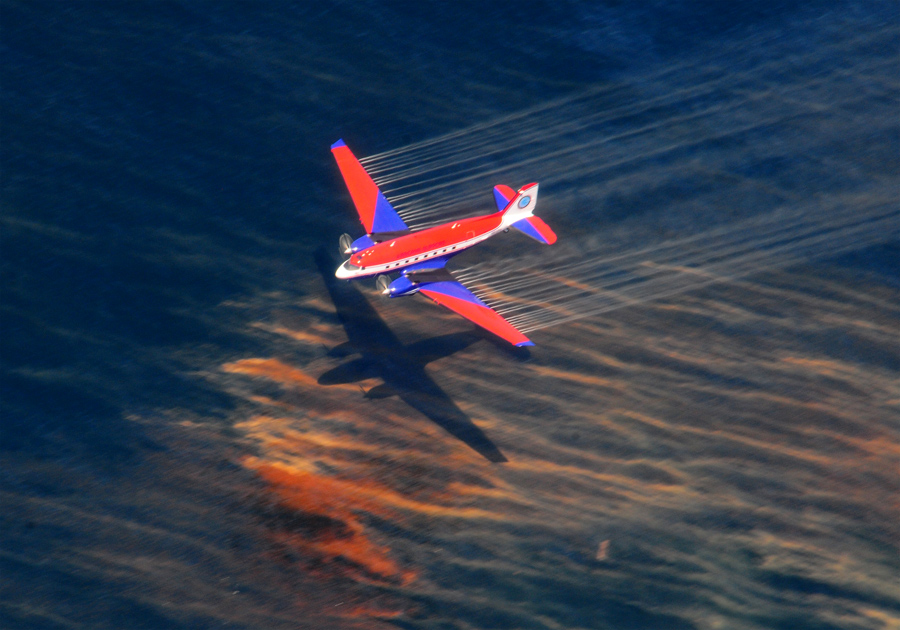 Chemical dispersants being released near Houma, Louisiana in the Gulf of Mexico (USCG photo)