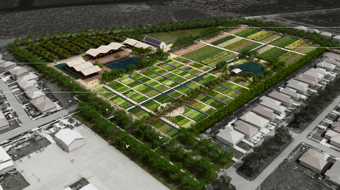Landscape architect's rendering of the Viet Village Urban Farm