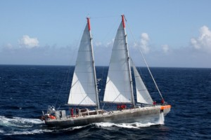 "The unique research schooner, ""Tara,"" on its 3-year global expedition of Tara Oceans"