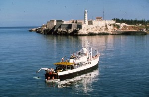 The Calypso and Jacques Cousteau in Havana Bay