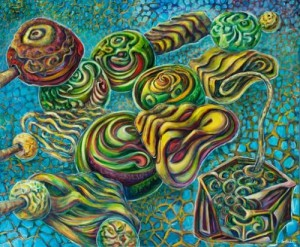 """Xavier Cortada (The Four Nucleotides:) Guanine, acrylic on canvas, 60"""" x 72"""" 2010"""