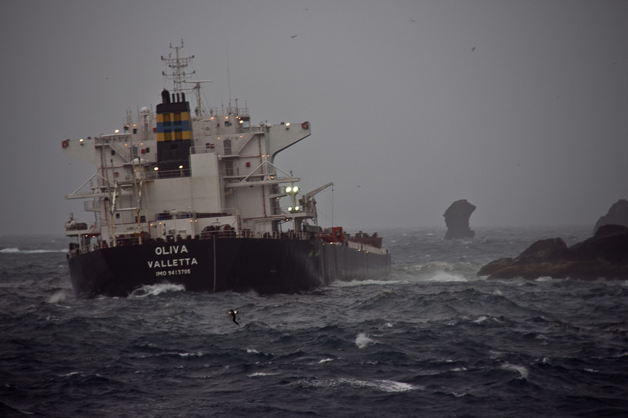 Freighter MS Oliva aground at Nightingale Island. The ship has broken in half and oil now threatens penguins and other wildlife. All crew was rescued.