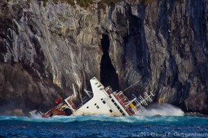 "Vessel ""Oliva"" breaking apart and spilling oil at Nightingale Island (Photo: D. Guggenheim)"