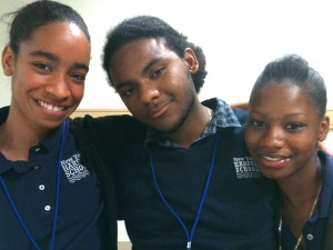 Left to Right: Patricia, Cesar and Florence, all students from The Urban Assembly New York Harbor School, who will make you laugh and touch your heart with inspiration while offering an important lesson about what motivates young students and what makes for an exceptional educational experience today. (Photo: D. Guggenheim)