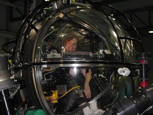 Dr. Sylvia A. Earle at the helm of the Deep Rover submersible (Photo: David E. Guggenheim)