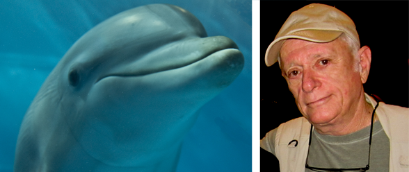 Captive bottlenose dolphin and Ric O'Barry (Photo: David E. Guggenheim)