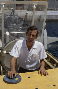 Swiss oceanographer Jacques E. Piccard pictured in Palm Beach, Fla., in the late 1960s. Piccard, who died in 2008, was posthumously awarded the Hubbard Medal, the National Geographic highest honor, at a ceremony in Washington, D.C., on June 14, 2012, for his record-breaking dive to the ocean's deepest point with Don Walsh on Jan. 23, 1960. Aboard the bathyscaphe Trieste, Piccard and Walsh were the first to reach the bottom of the Pacific Ocean's Mariana Trench. (Photo by Otis Imboden/National Geographic; ? National Geographic)