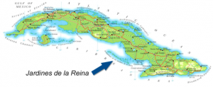 Map of Cuba Indicating Location of Jardines de la Reina