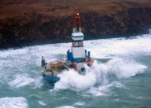 Shell's Kulluk platform aground at Stikalidak Island, Alaska