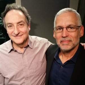"Ira Flatow, host of PRI's ""Science Friday"" and Ocean Doctor president, Dr. David E. Guggenheim, at the CUNY studios in New York"