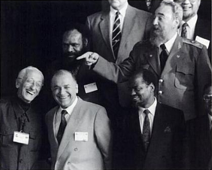 President Fidel Castro and Captain Jacques-Yves Cousteau in a playful exchange at the Rio Earth Summit in 1992